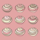 Set of hand-drawn colored cupcakes. Line vintage icons, sweet elements for menu, cafe shop. Flat  collection. Royalty Free Stock Photos