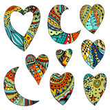 Set Hand drawn colored hearts and crescent Royalty Free Stock Photo