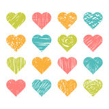 Set of hand drawn colored hearts on white background Stock Photography