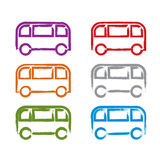 Set of hand-drawn colorful bus icons, collection Royalty Free Stock Images