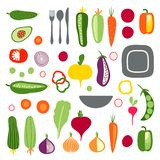Set with hand drawn colorful flat vegetables and tableware stock illustration