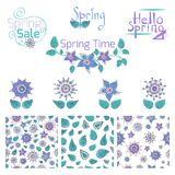 Set of hand drawn colorful flowers and leaves, seamless patterns and label designs. Floral illustration for print, textile, curtain. Calligraphy spring Royalty Free Stock Photo