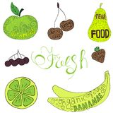 Set of hand drawn colorful fruits and berries in green and yellow colors. stock illustration