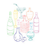 Set of Hand-Drawn Colorful Glasses, Bottles and Glass Decanters Arranged in a Shape of Circle. Sketch Drawing Glasses Stock Photos