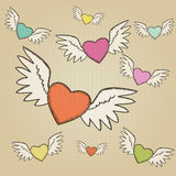 Set of hand-drawn colorful hearts Royalty Free Stock Photos