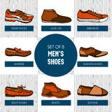 Set of Hand drawn colorful men's shoes Stock Image