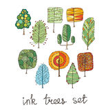 Set of hand drawn colorful trees. Ink style. Stock Image