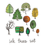 Set of hand drawn colorful trees. Ink style. Royalty Free Stock Photos
