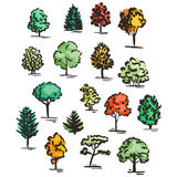 Set of hand drawn colorful trees. Ink style. Royalty Free Stock Photography