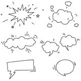 Set of hand drawn comic speech bubbles elements Stock Photos