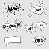 Set of hand drawn comic speech bubbles elements Stock Images