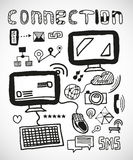Set of hand drawn connection doodles Royalty Free Stock Image