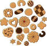Set of hand drawn cookies. illustration on white background. Bright cartoon illustration for children`s greeting card d stock illustration
