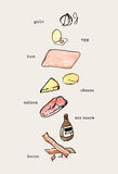 Set of hand drawn cooking doodles , ingredients raw food . color. Water Stock Images