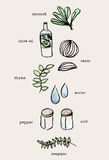 Set of hand drawn cooking doodles , ingredients raw food . color. Water vector Royalty Free Stock Image