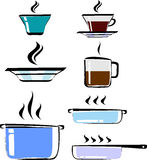 Set of hand drawn cookware, color, vector. Cups of tea and coffee, plate, pots, frying pan Stock Photos