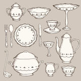 Set of hand drawn cookware. Hand drawing sketch, vector illustration Royalty Free Stock Photography