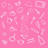 Set of hand drawn cookware. Kitchen pink girl background. Doodle kitchen equipments. Royalty Free Stock Image