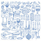 Set of hand drawn cookware. Royalty Free Stock Photography