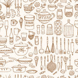 Set of hand drawn cookware. Stock Images