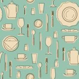 Set of hand drawn cookware. Silhouettes of kitchen utensils. Seamless pattern with kitchen equipments. Set of hand drawn cookware Stock Images