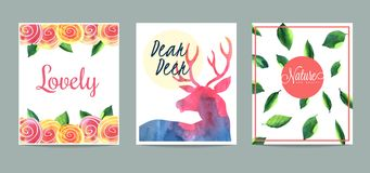 Set of hand drawn creative cards Royalty Free Stock Image