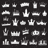 Set of hand-drawn crowns. Hand-drawn crowns collection. Ink sketch. Vector design elements Stock Photo