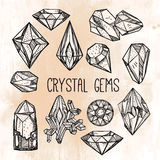 Set of hand drawn crystal gems. Stock Photography