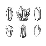 Set of hand drawn crystals. Set with hand drawn vector crystals and minerals isolated on white Stock Image