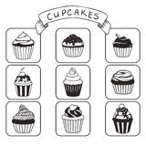Set of hand drawn cupcakes Royalty Free Stock Photo