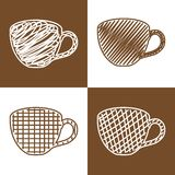 Set of hand drawn cups Stock Image