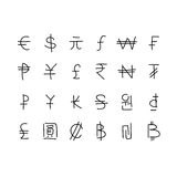 Set of hand drawn currency symbols Royalty Free Stock Photos