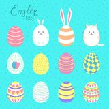 Easter eggs collection. Set of hand drawn cute cartoon Easter eggs. Isolated objects. Vector illustration. Festive design elements. Concept for greeting card stock illustration