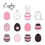 Easter eggs collection. Set of hand drawn cute cartoon Easter eggs. Isolated objects on white. Vector illustration. Festive design elements. Concept for greeting vector illustration