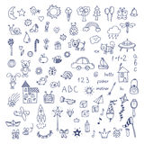 Set of hand drawn cute doodles. Doodle children drawing. Hand dr Royalty Free Stock Image