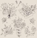 Set of hand drawn cute floral bouquets. Retro flowers labels in . Stock Photos