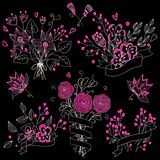 Set of hand drawn cute floral bouquets in vintage style. Stock Photo