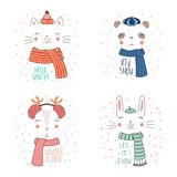 Animal faces in warm hats. Set of hand drawn cute funny animal faces in warm hats, mufflers, with winter, snow quotes. Isolated objects on white background with Stock Photos