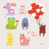 Set of cute Valentines day monsters royalty free illustration