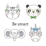 Cute animal in glasses. Set of hand drawn cute funny portraits of cat, panda, unicorn, elephant in glasses, with text Be smart..  objects on white background Royalty Free Stock Photo