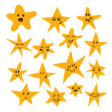 Set of hand drawn cute and funny stars. Cartoon comic style Royalty Free Stock Images