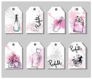 A set of hand drawn cute gift tags. Beautiful perfume bottle. Fashion and beauty background. Vector. Stock Images