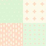Set of 4 hand drawn cute seamless patterns Stock Photos