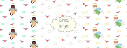 Collection of angel patterns. Set of hand drawn cute seamless vector patterns with little angel girls, one holding a cat, hearts, clouds, on a white background Royalty Free Stock Images