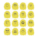 Set of hand drawn cute smiley monsters. Collection of different Stock Image