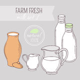 Set of hand drawn dairy farm objects. Background with milk goods. Vector illustration Royalty Free Stock Photography