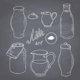 Set of hand drawn dairy farm objects. Milk goods Royalty Free Stock Photo
