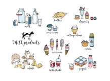Set of hand drawn dairy products. Cheese, milk shake, butter, yogurt, cottage cheese, sour cream, desserts, cow. Vector Stock Photos