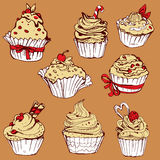 Set of hand drawn decorated sweet cupcakes - elements for cafe, Stock Photos