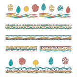 Set of hand drawn decorative patterns. Colorful seamless borders with trees and abstract motifs. Vector collection for card, greetings, wallpaper and children`s vector illustration